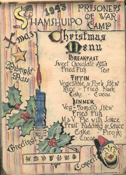 Christmas Dinner menu in Shamshuipo POW camp 1943