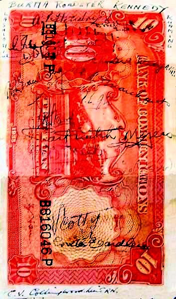 Lt Collingwood RN signed souvenirs banknotes in Kunming.