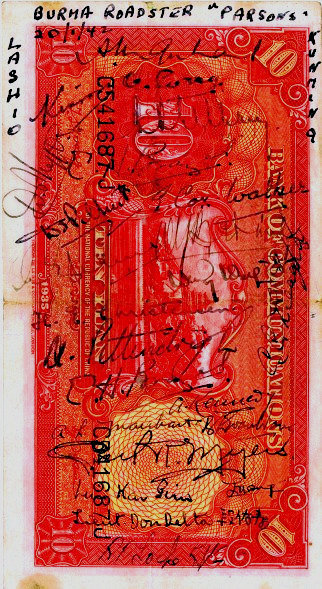 Banknotes signed as souvenirs by escape party members in Liuchow