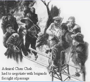 Admiral Chan Chak was carried in a makeshift Sedan chair