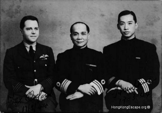 Max Oxford, Chan Chak, & Henry Hsu 17th March 1944          Photo from Admiral Chan Chak's collection ©