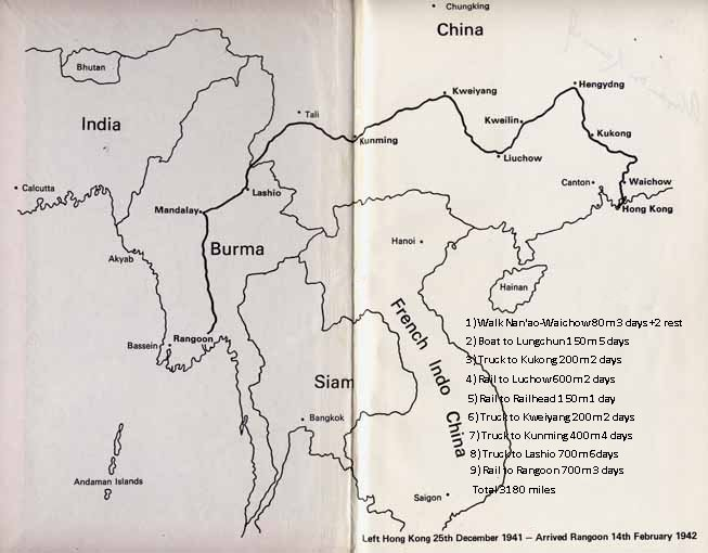 The Escape route across China and Burma   Click here to see some scenes enroute      Map from 'Hong Kong Full Circle' by Alick Kennedy &copy