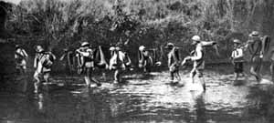 Chinese Guerilla's crossing river