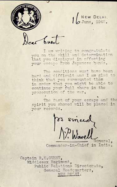 Freddie Guest's letter from C-in-C India, General Wavell.          Photo from Freddie Guest's collection ©