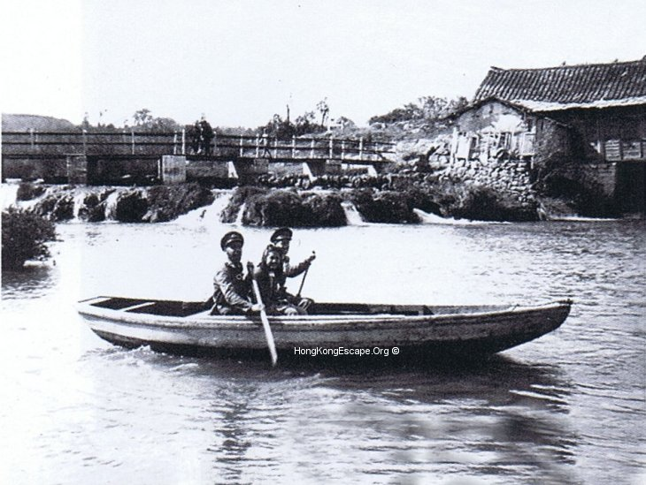 Lt Collingwood RN & Parsons HKRNVR boating in Huaxi Park.  	Photo from the Hide collection ©