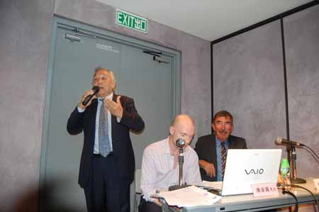 Donald Chan, Tom Recaldin, & David Hide giving a HERO presentation at the HKMCD ©    Click here to see a recording of Chan Chak's fight against the 5th Columnists ©