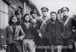Lt Legge & officers at Kweiyang 26th January 1942.      Run the curser over to see individuals identified.  Photo fom Alex Kennedy's collection ©