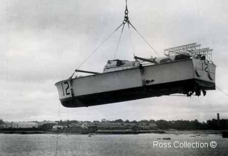 MTB 12 being hoisted.       Photo from the Ross family collection ©