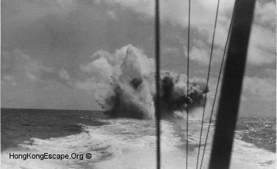 MTB 07 dropping depth charges in Hong Kong waters.   	Photo from the Hide collection ©