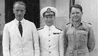 D MacDougall, Admiral Chan Chak, & Max Oxford 1946 ;     Click here to read more;     Photo from Oxford family collection ©
