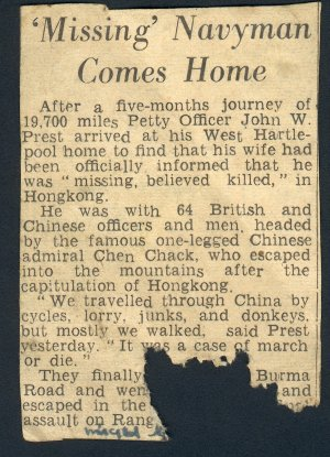 Jix Prest escape account in the Evening Telegraph 3rd June 1942              Photo from Ron Ashby's collection ©