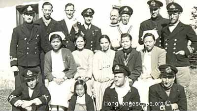 Lt Ronnie Ashby HKRNVR & senior Sino-British navy officers and nursing staff at Waichow ©